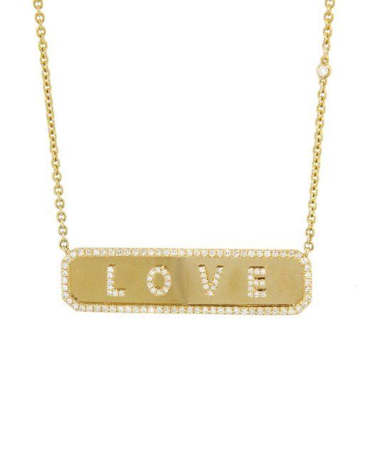 Women's Metallic Diamond Love Nameplate Necklace