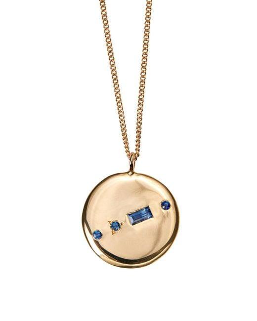 Wwake - Multicolor Small Blue Sapphire Baguette Medallion Necklace - Lyst