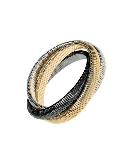 Janis Savitt - Metallic High Polished Gold, Rhodium And Gunmetal Triple Cobra Bracelet - Lyst