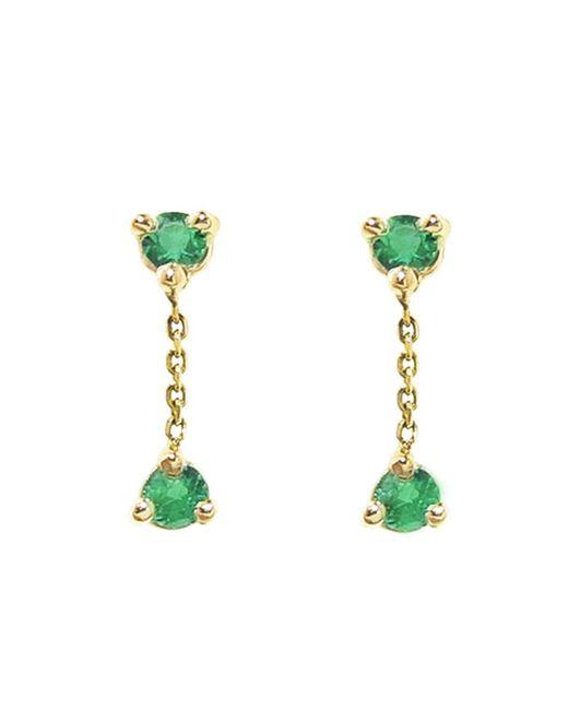 Wwake Green Small Two-step Emerald Chain Earrings