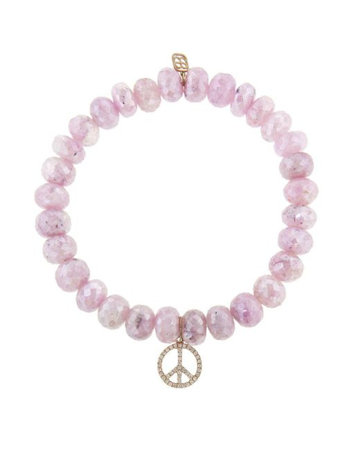 Sydney Evan - Peace Sign Charm On Pink Grapolite Beaded Bracelet - Lyst