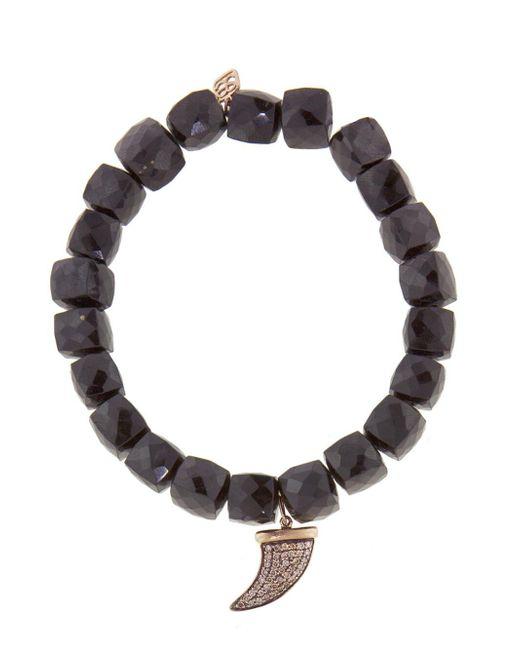 Sydney Evan - Multicolor Brown Diamond Horn Charm On Spinel Beaded Bracelet - Lyst