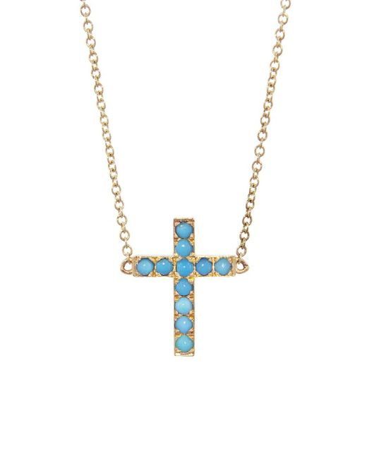 Jennifer Meyer - Multicolor Turquoise Cross Necklace - Lyst