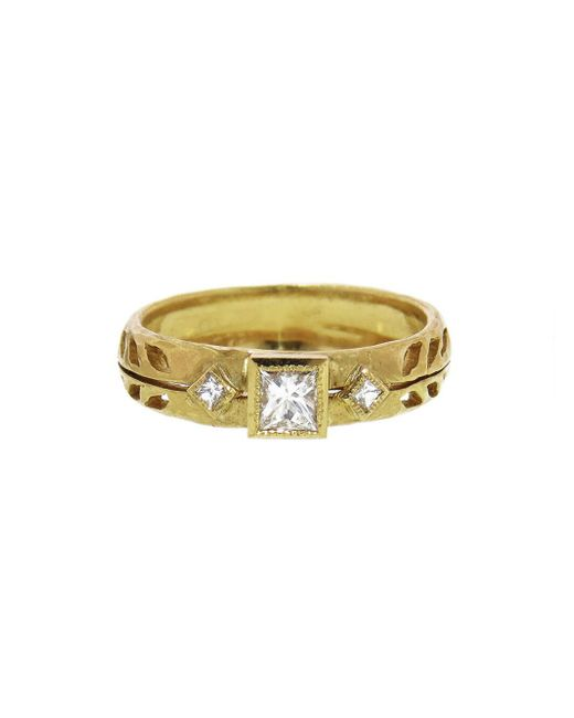 Cathy Waterman - Multicolor Princess Cut Diamond Wheat Ring - Lyst
