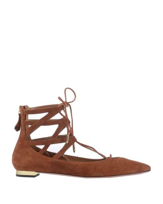 Aquazzura - Brown Ballet Flats - Lyst