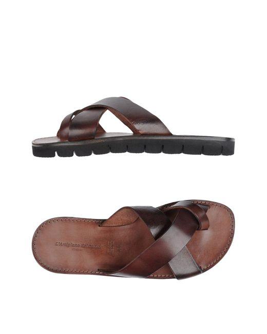 L'artigiano Del Cuoio Brown Toe Strap Sandal for men