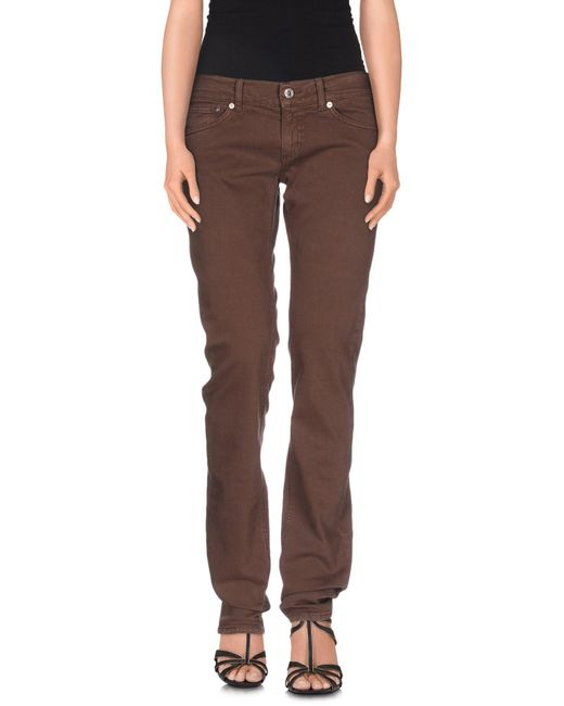 Dondup   Brown Denim Trousers   Lyst