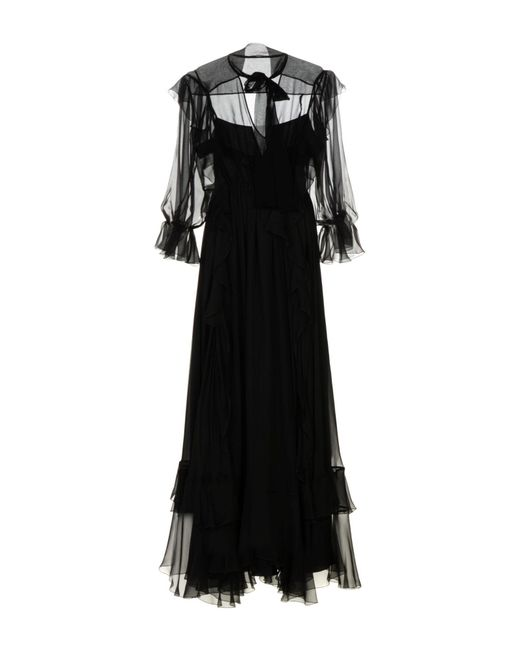 Alberta Ferretti - Black Long Dress - Lyst