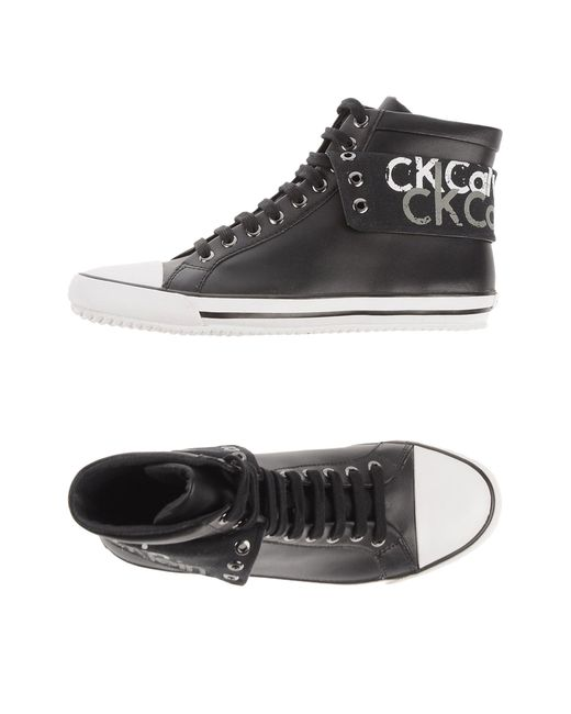 ck calvin klein high tops trainers in black lyst. Black Bedroom Furniture Sets. Home Design Ideas