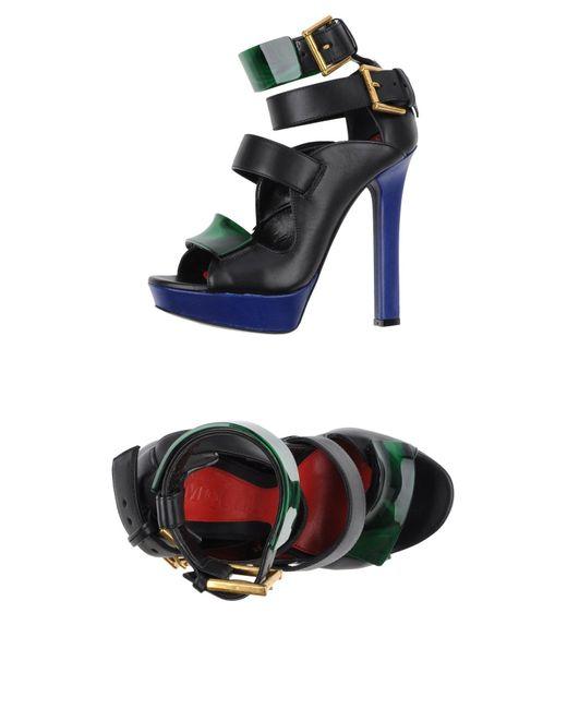 Alexander McQueen | Black T-strap Platform Sandal | Lyst