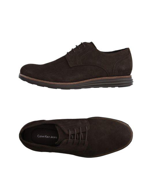calvin klein jeans lace up shoes in brown for men lyst. Black Bedroom Furniture Sets. Home Design Ideas