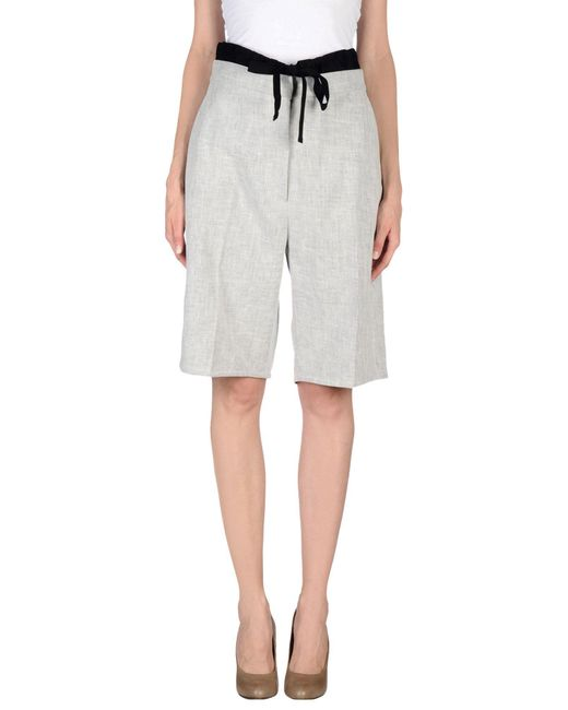 MM6 by Maison Martin Margiela - Gray 3/4-length Trousers - Lyst