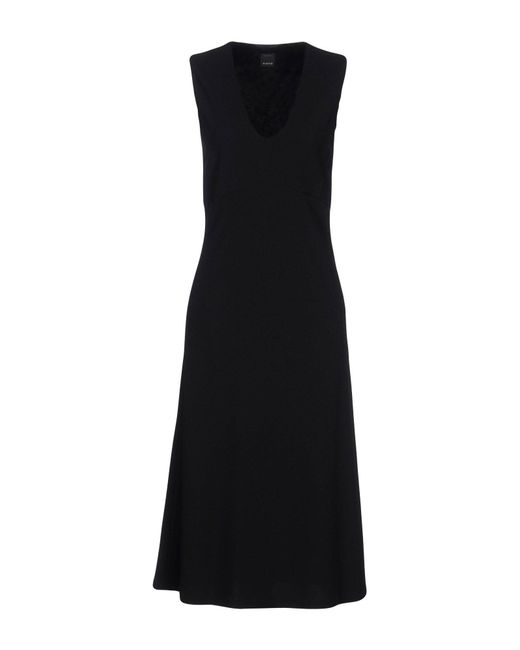 Pinko - Black 3/4 Length Dress - Lyst