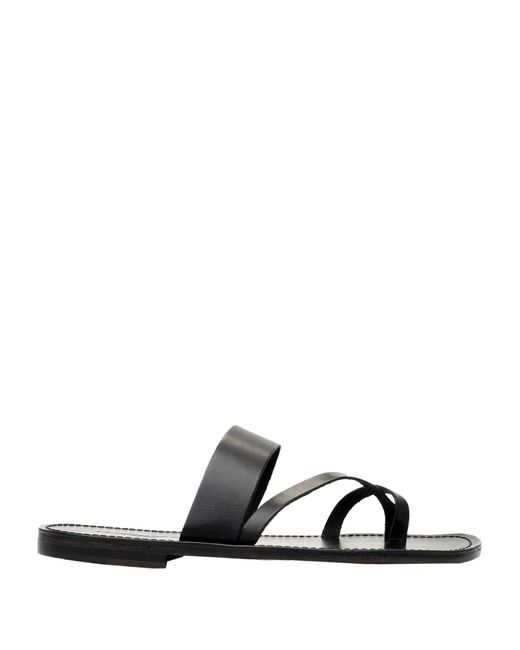 L'artigiano Del Cuoio Black Toe Strap Sandal for men