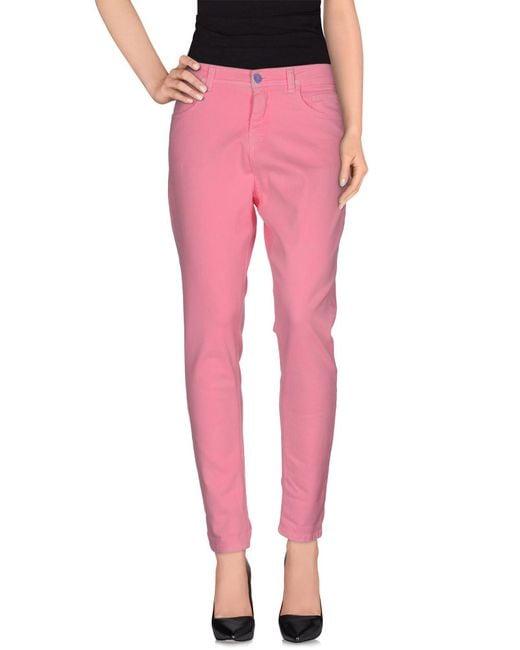 Twin Set - Pink Denim Trousers - Lyst