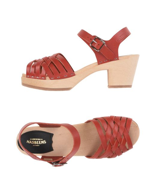 Swedish Hasbeens - Red Sandals - Lyst