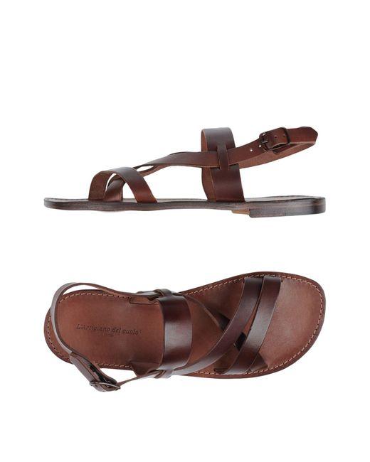 L'artigiano Del Cuoio Brown Sandals for men