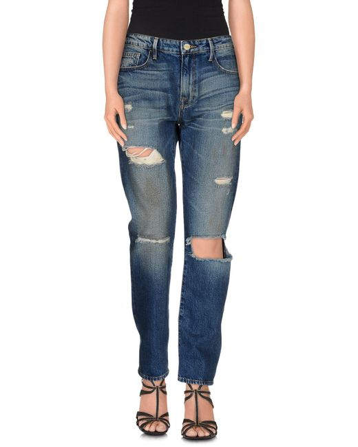 FRAME - Blue Denim Trousers - Lyst