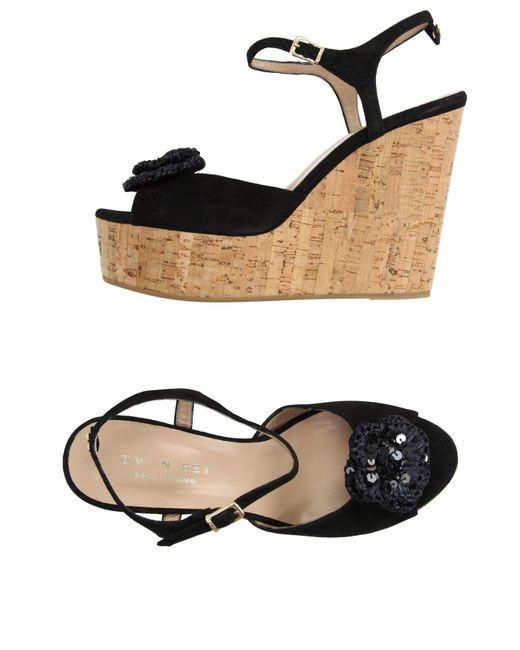 Twin Set | Black Sandals | Lyst
