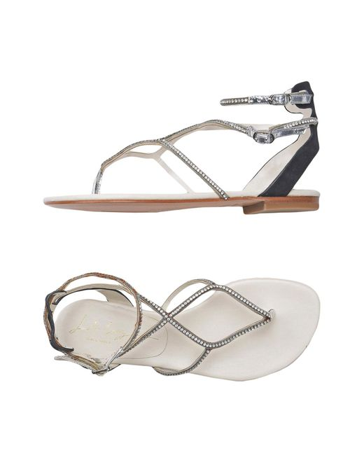 Lola Cruz - Metallic Toe Post Sandal - Lyst