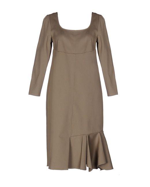 Marni | Gray Satin-twill and Silk-chiffon Dress | Lyst