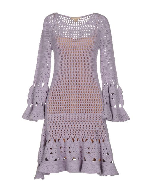 Michael Kors | Purple Crocheted Cashmere-blend Mini Dress | Lyst