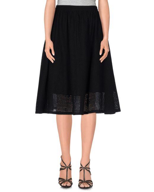 YMC | Black Knee Length Skirt | Lyst