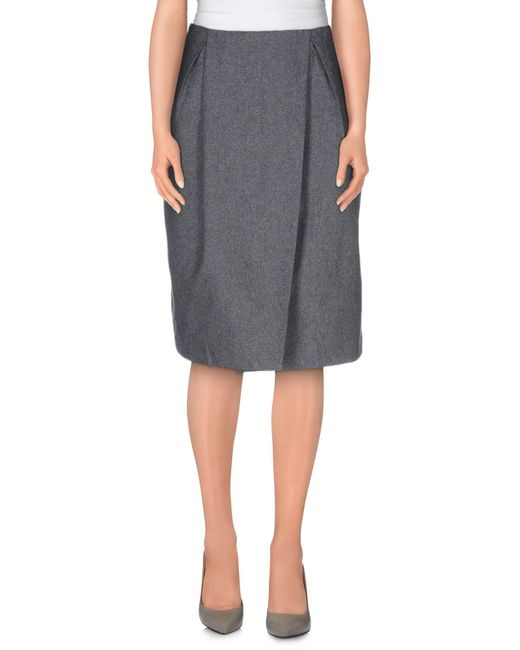 cheap monday knee length skirt in gray lead lyst