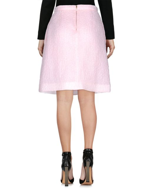 rochas knee length skirt in pink lyst