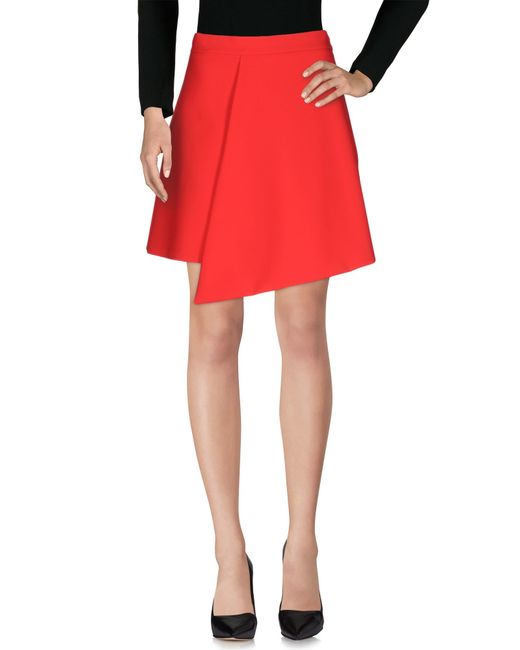 elisabetta franchi knee length skirt in coral lyst