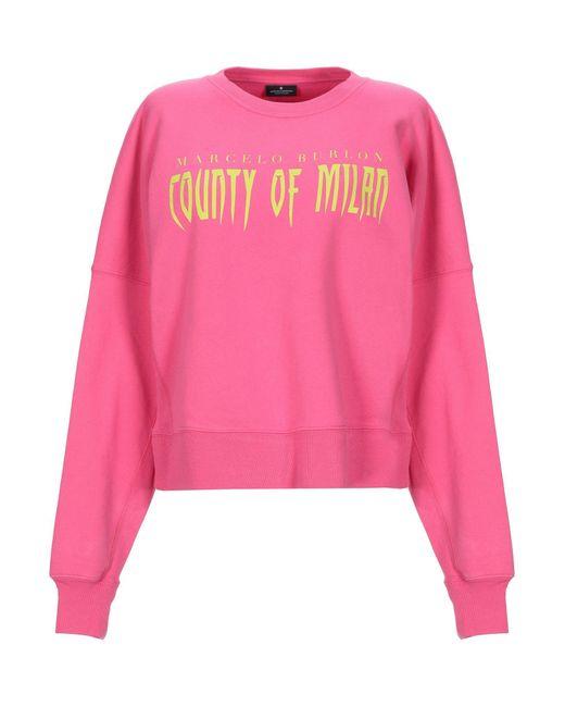Sweat-shirt Marcelo Burlon en coloris Pink