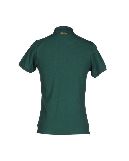 Refrigue polo shirt in green for men dark green lyst for Dark green mens polo shirt