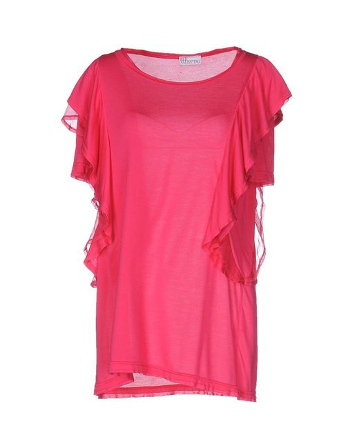 Red valentino t shirt in blue lyst for Red valentino t shirt