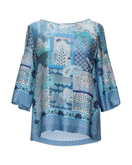 Caliban Blusa de mujer de color azul MtDmL