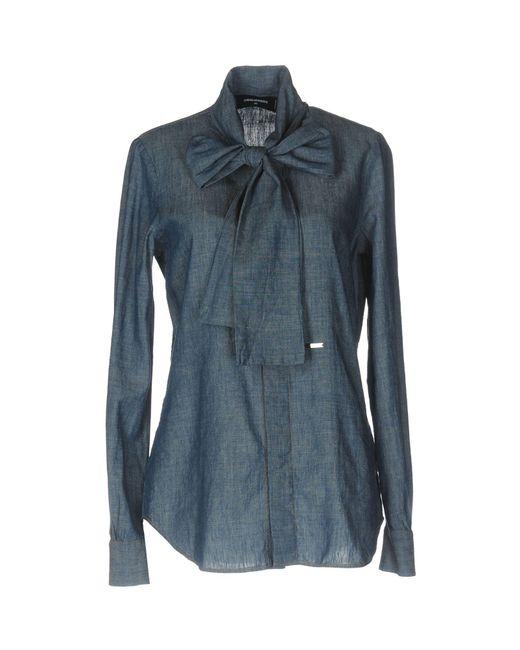 dsquared denim shirt in blue lyst. Black Bedroom Furniture Sets. Home Design Ideas