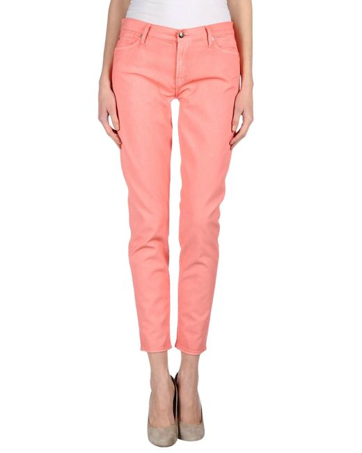7 For All Mankind | Pink Denim Pants | Lyst