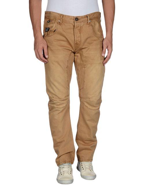 jack jones denim trousers in brown for men beige. Black Bedroom Furniture Sets. Home Design Ideas