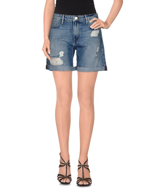 FRAME | Blue Denim Shorts | Lyst