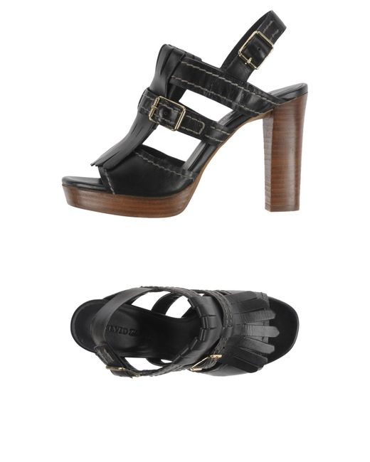 Elvio Zanon | Black Sandals | Lyst