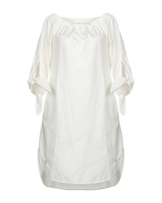 European Culture White Short Dress