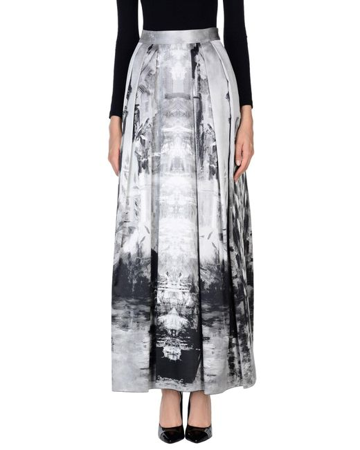 Alberta Ferretti - Gray Long Skirt - Lyst