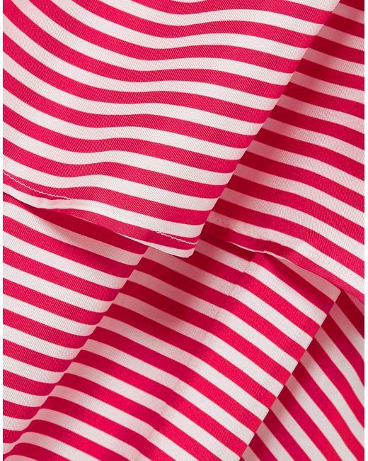 Robe Longue En Serge De Soie à Rayures Et à Finitions En Corde Amalfi Paper London en coloris Red
