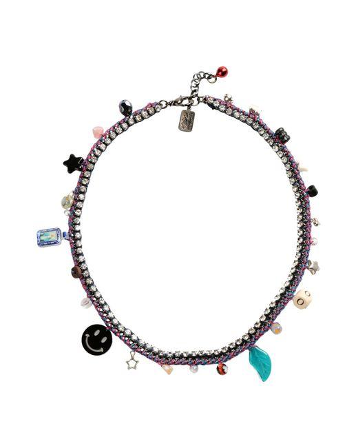 Venessa Arizaga | Pink California Dreamin' Silver-Plated Woven Charm Necklace | Lyst