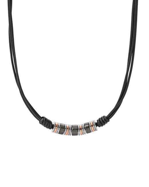 Fossil - Black Necklace for Men - Lyst