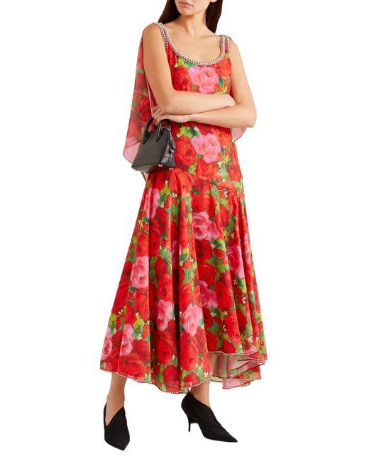 Richard Quinn Red Langes Kleid