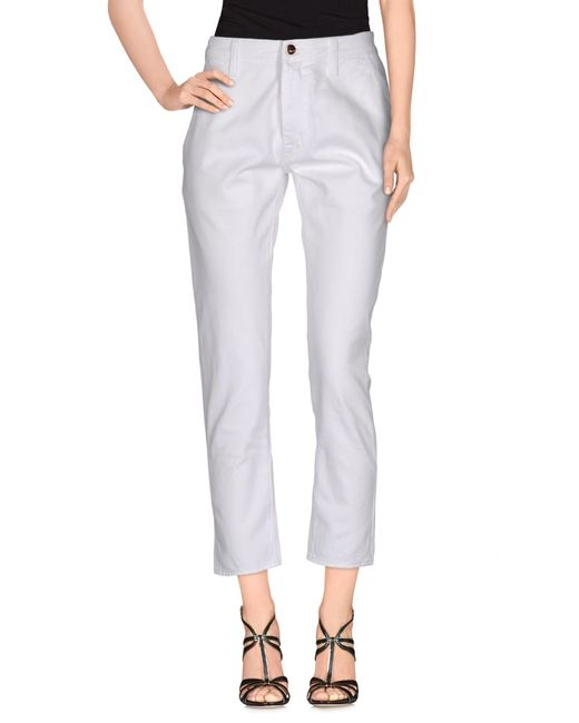 People - White Denim Trousers - Lyst