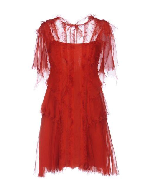 Alberta Ferretti - Red Short Dress - Lyst