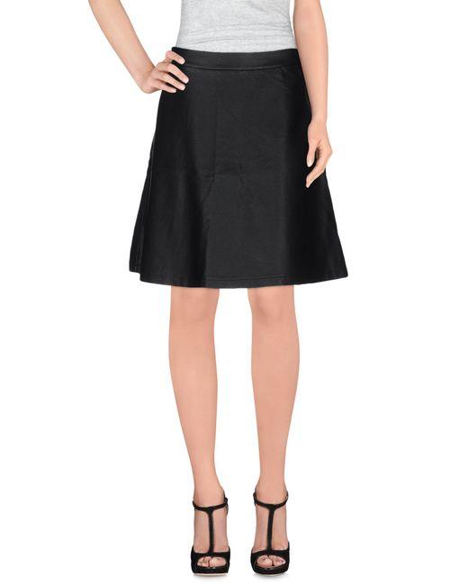 Ichi | Black Knee Length Skirt | Lyst
