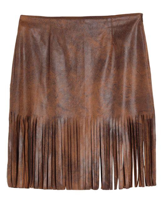 ViCOLO Brown Knee Length Skirt