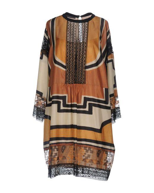 Alberta Ferretti - Brown Short Dress - Lyst